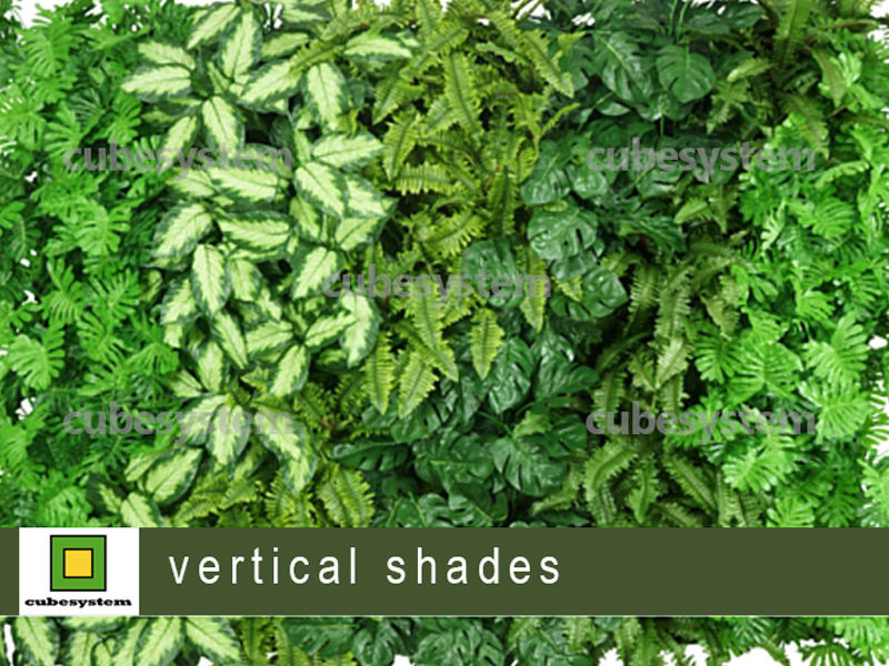 ARTIFICIAL GREENWALL VERTICAL SHADES BY CUBESYSTEM 1 - Artificial Green Wall